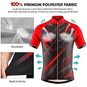 Lixada Ropa de Ciclismo para Hombre,Manga Corta Transpirable + Pantalones Cortos Acolchados,Traje de Ropa de Bicicleta de Montaña (Rojo+Negro, L)