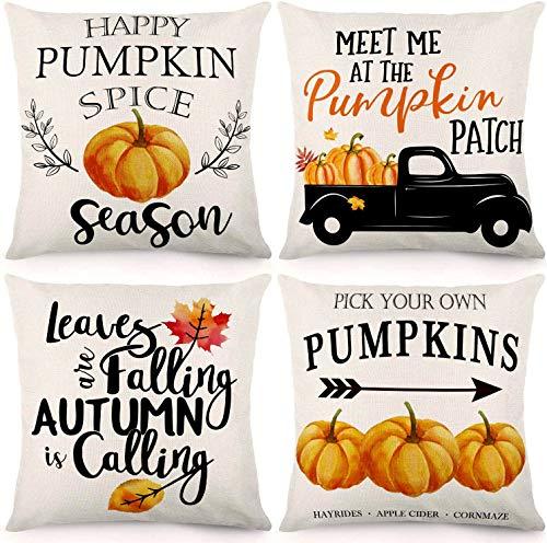 CDWERD 4pcs Fall Throw Pillow Covers 18x18Inches Pumpkin Truck Leaves Autumn Theme Farmhouse Pillowcase Cotton Linen Cushion Case for Fall Thanksgiving Decor