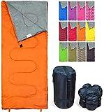 REVALCAMP Orange Schlafsack für Drinnen & Draußen. Toll für Kinder, Jungen, Mädchen, Jugendliche & Erwachsene. Ultraleichte und Kompakte Schlafsäcke sind ideal zum Wandern, Rucksackwandern & Camping