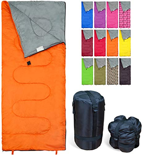 Lightweight Orange Sleeping Bag by RevalCamp. Indoor & Outdoor use. Great for Kids, Youth & Adults. Ultralight and Compact Bags are Perfect for...