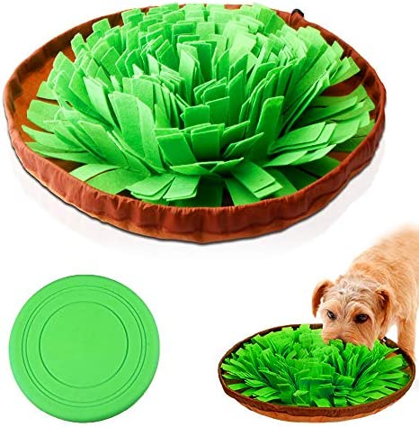 AUBBC Snuffle Mat, Durable Dog Puzzle Toys Interactive Feeding Mat with Silicone Frisbee Encourage Natural Foraging Skills and Nose Work Training – Machine Washable …