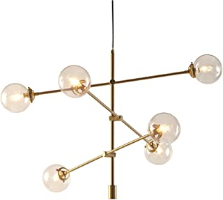 INK+IVY II150-0011 Cyrus Six Modern Chandeliers-Height Adjustable, Plated Finish, Glass Sphere Shades Pendant Sputnik Ligthing Lamp Ceiling Dining Room Lighting Fixtures Hanging, LED Compatible, Brass