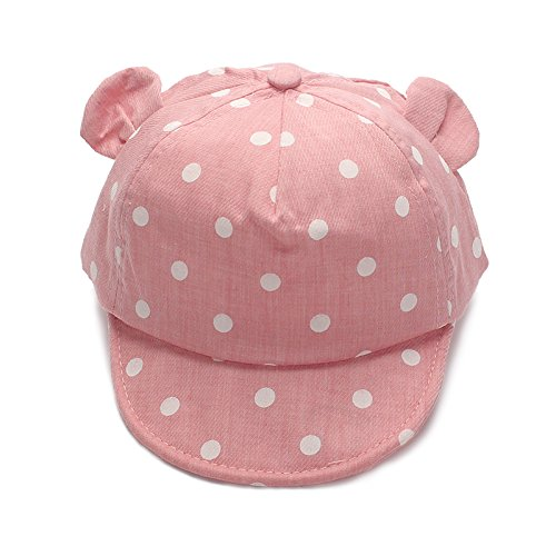 XIAOHAWANG Dot Partten Baby Caps Summer Girl Boys Sun Hat with Ear Spring Summer Newborn Photography Props (Pink)