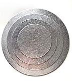 4 Cake Board ( Ø 15,20,25,30 cm ) Cake Drum 3 MM beschichtet Kuchenplatte Tortenplatte Cakeboard Tortenunterlage Ausstecher Fondant Silber RUND