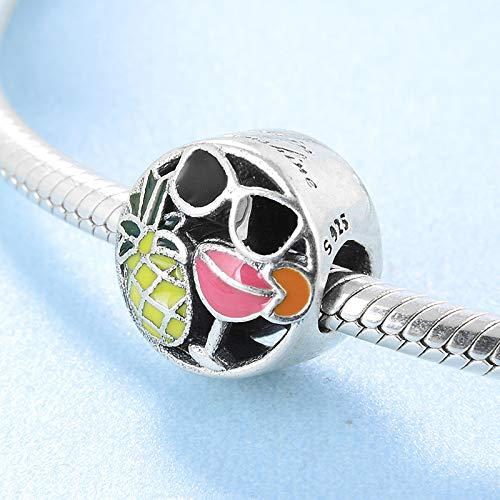 XSZPKL Verano 925 Plata esterlina piña Vino Tinto y Gafas de Sol Cuentas de Esmalte Fit Original Charm Bracelet Jewelry