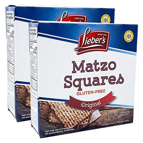 Leiber's Matzo Crackers Matzah Squares, Original, All Natural, Gluten-Free, Kosher For Passover, 10.5oz Box (2-Pack)