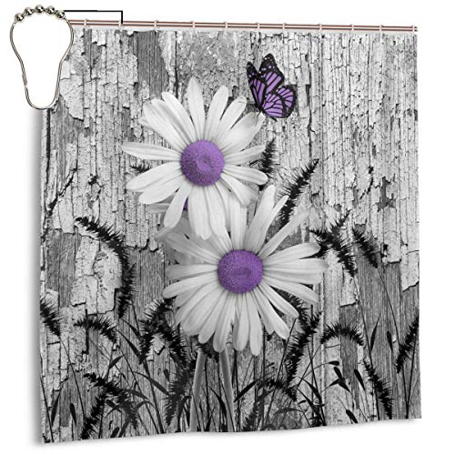 """Amonee-YL Purple Gray White Daisy Flowers Butterfly Black Foxtail Grass Polyester Fabric Shower Curtain Sets with 10 Hooks,Modern Bathroom Home Decor, Water Repellent 60"""" 72"""""""