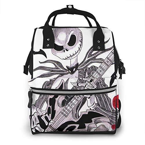 Jack Skellington Mochila de viaje multifunción impermeable para Halloween, mochila de viaje de maternidad