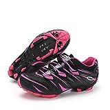 MiFeloo Zapatillas de ciclismo de montaña para hombre y mujer, compatibles con tacos de 2 pernos, Rosa/Rebel Fun., 4.5 US