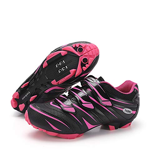 MiFeloo Women Outdoor MTB Mountain Bike Cycling Shoes Compatible with 2-Bolt Cleats Pink US 7