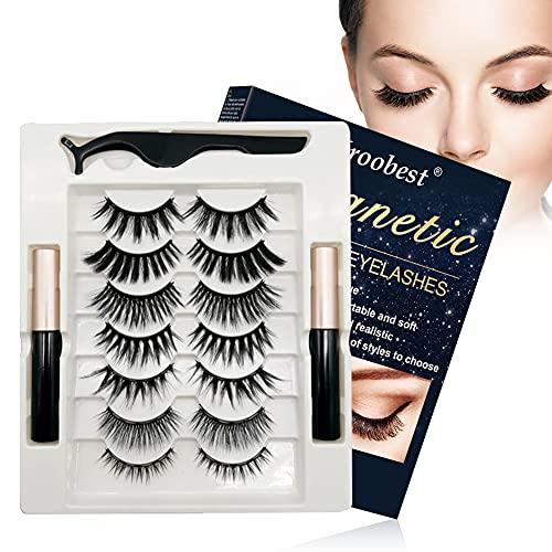 Cils Magnétiques, Eyeliner Magnétique, Magnetic Eyelashes Eyeliner kit, 7 paires de cils 3D réutilisables, Eye-liner liquide magnétique imperméable, Facile à appliquer et aucune colle nécessaire