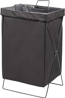 Générique Panier à Linge Pliable en X pour buanderie, Chambre à Coucher ou Salon, Lin + métal, Noir, 38x28x55cm