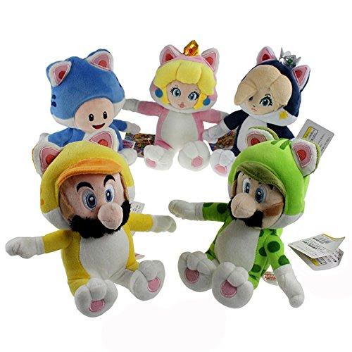 Yijinbo 5X Forma de Gato Super Mario Bros Mario Luigi Princesa Peach Rosalina Toad Peluche Animal de Peluche 7 Pulgadas