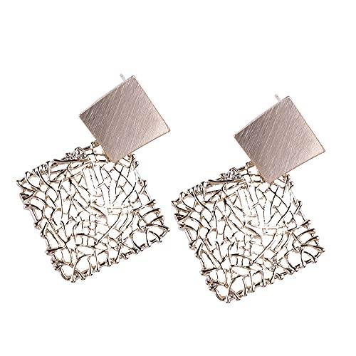 Pendientes retro Pendientes huecos de oro viejo en forma de diamante Pendientes de temperamento Pendientes de viento frío