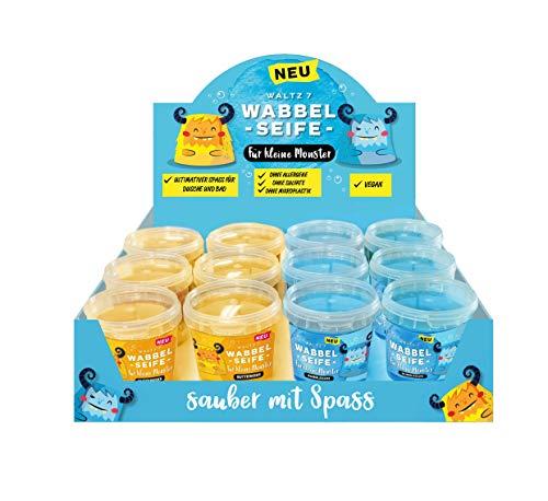 Kinder Wabbelseife 12er Set mit Butterkeks und Bubblegum natürliche Seife für die Dusche Kindergeburtstag Mitgebsel für jeden Kinderwunsch von Waltz7