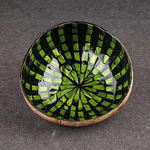 xingxing Storage & Organization - Cuenco de concha de coco natural colorido, respetuoso con el medio ambiente, decoración de trabajo de arte (color: verde pico)