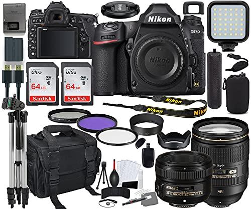Nikon D780 DSLR Camera with 24-120mm (1619) & 50mm f/1.8G Lens Bundle + Prime Accessory Kit Including 128GB Memory, Light, Camera Case, Hand Grip & More