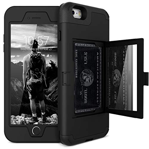 iPhone 6/6s Wallet Case - WeLoveCase Defender Wallet Design with Hidden Back Mirror and Card Holder Heavy Duty Protection Shockproof 3 in 1 All-Round Armor Protective Case for iPhone 6 6S - Black