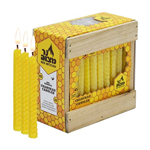 Ner Mitzvah Honeycomb Chanukah Beeswax Candles - Standard Size Candle Fit Most Menorahs - Premium Quality Pure Bees Wax - Natural Yellow Amber - 45 Count for All 8 Nights of Hanukkah