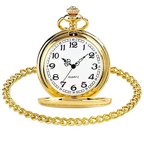 HLONGG Reloj de Bolsillo de Cuarzo Reloj de Bolsillo clásico de Acero Vintage Liso con Cadena Corta para Hombres Regalo para Mujeres para cumpleaños día de Aniversario día de Navidad,Oro