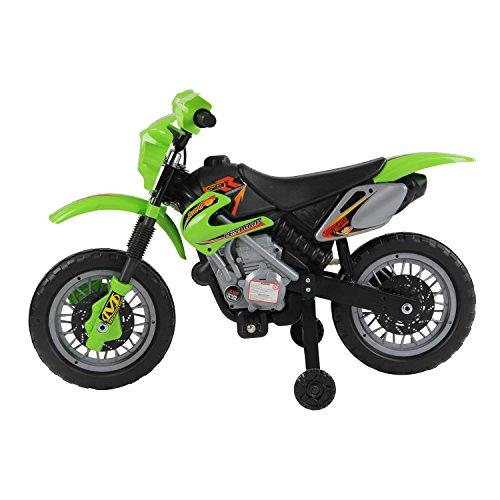 homcom Moto Cross Elettrica per Bambini con Rotelle 2.5Km/h Verde