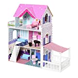 Homcom casa de muñecas de 3 pisos con patio muebles accesorios completos diseño lindo casita muñecas de juguete madera 86x30x87 cm rosa