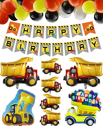 Decoraciones para Fiestas de Construcción, HAPPY BIRTHDAY Pancarta, 8 Globos con Forma de Camión y 40 Globos Temáticos de Construcción para Fiestas de Cumpleaños Infantiles (Construcción)