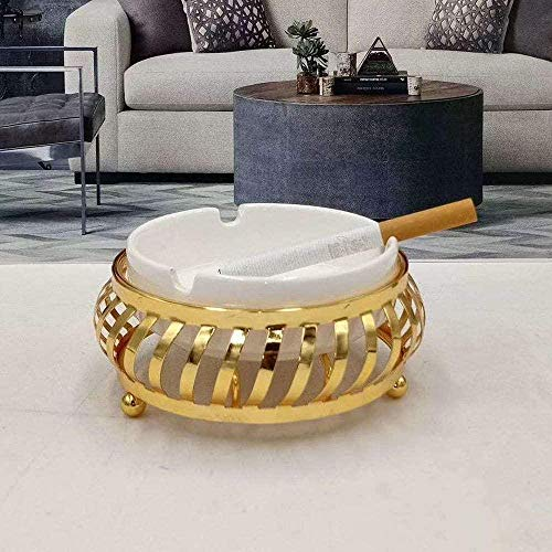 Housewares Cenicero de cerámica Cenicero de cerámica con soporte de metal Cenicero de cigarrillos para uso en interiores o exteriores Cenicero para fumadores de escritorio