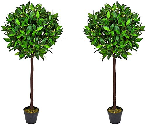 PAIR of Artificial Bay Laurel Trees - 4ft high Tree with real wood trunk and natural leaf