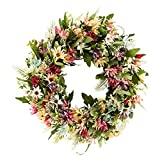 Guirnalda de flores de crisantemo salvaje de 45,7 cm con hojas artificiales de primavera para puerta delantera, pared, boda, fiesta, decoración del hogar, corona de eucalipto