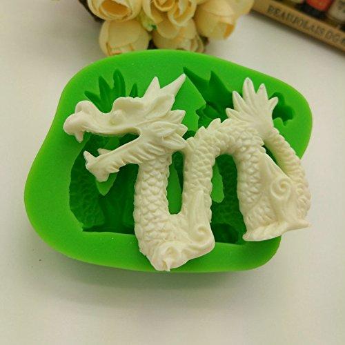 BERTERI Traditionelle Chinesische Drache Silikon Formen für Kuchen Fondant Schokolade Cookie Backen biscuitsoap Ice Cube Tablett Dekoration Werkzeuge (Pack von 2)