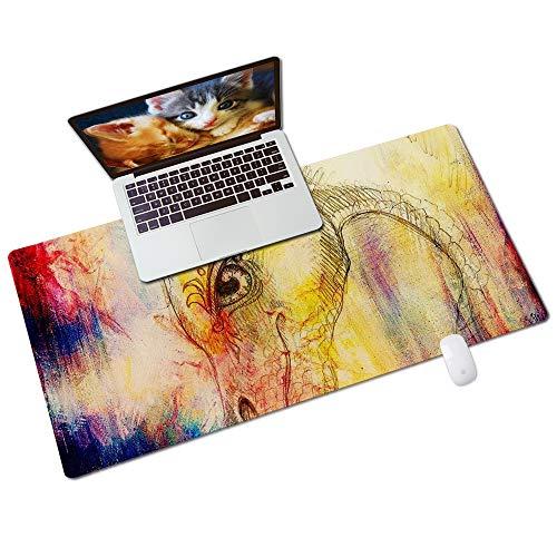Colorful Star rutschfeste Gaming-Mauspad für Desktop & Laptop 80 x 40 cm - PU-Leder-Schreibtischpad für Büro & Zuhause - Extra großes Tastaturpad & Mausmatte - Bleistiftzeichnung Drache