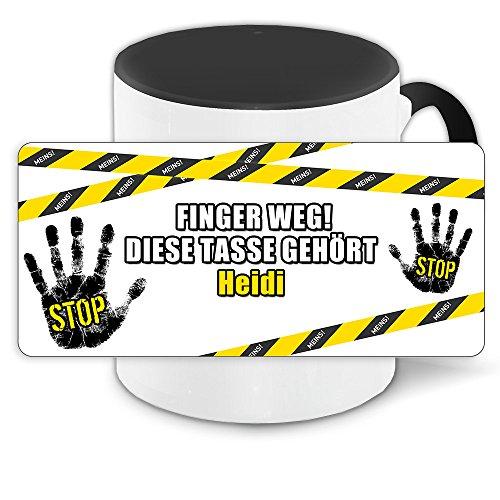 Büro-Tasse mit Namen Heidi und schönem Motiv - Nr. 3 - Finger weg, diese Tasse gehört, Farbe: schwarz