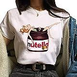 Camiseta Nutella Niñas, Moda De Verano Mujeres Camiseta Nutella Spoof Diversión Realista Comida Salsa De Chocolate Harajuku Food T-Shirt para Niña Nutella Round Neck T Shirt Tops Blouse (C20,S)