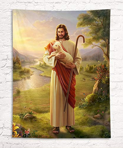 LB Jesus Christ Tapestry Jesus Holding Sheep Lamb Wall Hanging Religious Wall Art for Christmas Church Party Decor 40' Wx60' L Bedroom Living Dining Room Home Dorm Decor