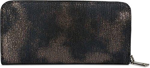 styleBREAKER Geldbörse mit genarbter Oberfläche im Antik Metallic Look, umlaufender Reißverschluss, Portemonnaie, Damen 02040091, Farbe::Dunkelblau/Rosegold