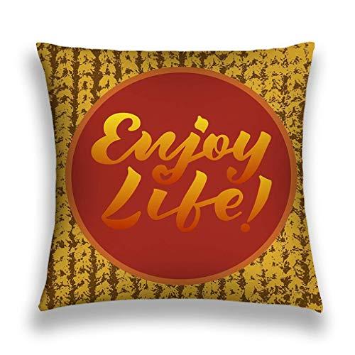 sherry-shop Throw Pillow Cover Illustration Genießen Sie das Leben Text Logo Flyer Banner Grußkarte Einladung Postkarte Typografie Poster 20X20IN