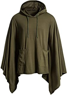 Cloak Mens Loose Tops Irregular Hem Fashion Coat Hoodie Pullover with Pocket Hooded Pullover Poncho Cape Coat Loose Bat Sl...