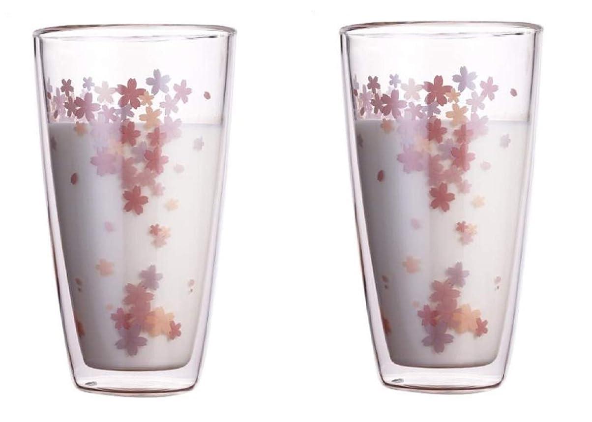 詩ロック解除特権【morningplace】 ダブルウォール グラス タンブラー 桜 二重構造 耐熱 カップ 350ml (2個セット)