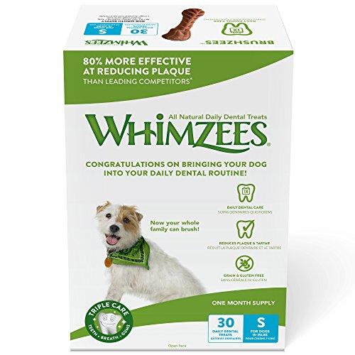 WHIMZEES Natural Daily Dental Long Lasting Dog Treats One Month Supply, Brushzees, Small, Box of 30