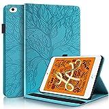 HülleFun Hülle für iPad Mini 5 4 3 2 1 Baum des Lebens Ultra Slim TPU Schutzhülle Tasche Folio Flip Stand Cover mit Auto Schlaf/Wach Kartenfächern, Blau