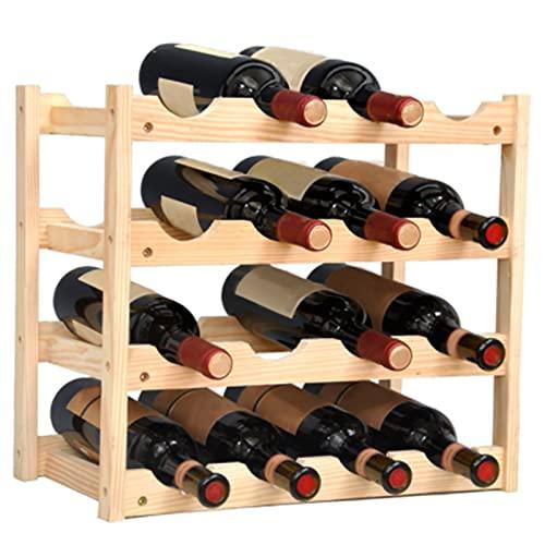 4YANG Estante de bambú para Vino, Estante de Almacenamiento de Vino, estantes de exhibición, Soporte Organizador de Botellas de Vino, Estante de Almacenamiento de Licor de encimera, Bar