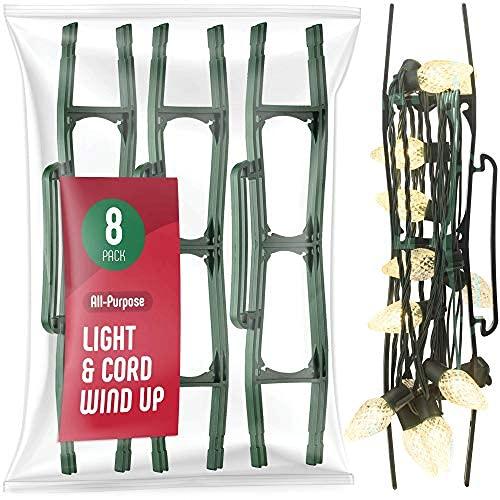SEWANTA Christmas Lights Storage Holder [Set of 8] All-Purpose Light Cord Wind up - Holiday Light Storage - Christmas Light Organizer for Extensions Cords, Garland, Beads - Made in USA