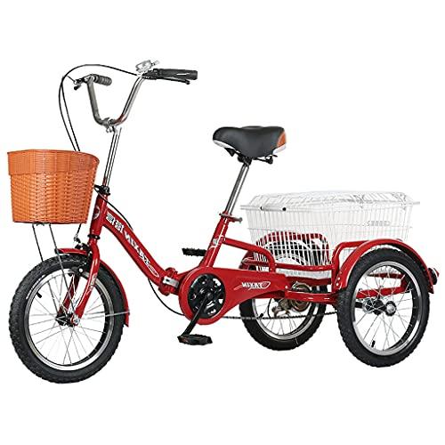 Triciclo per Adulti Tricicli Adulti Trikes Bicicletta A 3 Ruote Con Cestino Della Spesa Bicicletta A 3 Ruote Pieghevole Triciclo Per Adulti Trike Bicicletta Per Biciclette Per La Ricreazi(Color:rosso)