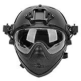 Casco táctico PJ F22 Airsoft, un Casco Protector de Cara Completa con máscara y Gafas Desmontables.