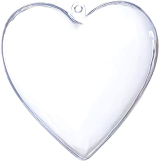 Seekingtag Clear Plastic Heart Shape Box Fillable Ornaments 80mm - Pack of 10