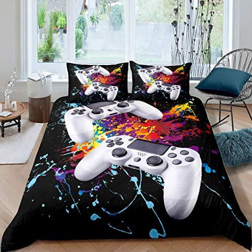YANG Bettwäscheset für Jungen, Wasserfarben, Gamepad, bedruckt, für Kinder, Videospiel, Gamepad, Schmusetuch, Gamer, Controller, Tagesdecke, Schlafzimmer-Kollektion, 3-teilig, Super King Size