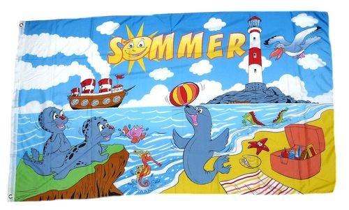 Flagge/Fahne Sommer Leuchtturm 90 x 150 cm
