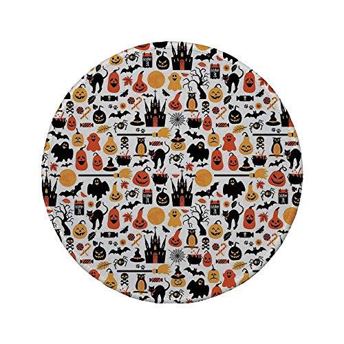 Rutschfreies Gummi-rundes Mauspad Halloween Halloween-Symbole Sammlung Süßigkeiten Eulen Schlösser Geister 31. Oktober Thema Dekorativ Orange Gelb Schwarz 7,87 \'x 7,87\' x 3 mm