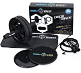 mandrill Ab Roller, Core Sliders, and Jump Rope Exercise Bundle, Body, Legs and Arms Fitness to...